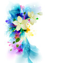 Tender background with white abstract flower on the artistic blobs