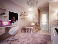 Tender and bright pink children`s room