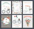 Tender collection of 6 cute wedding card templates.