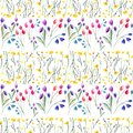 Tender delicate beautiful bright sophisticated spring colorful textile yellow wildflowers and red pink violet tulips and blue blu Royalty Free Stock Photo