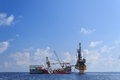 Tender drilling oil rig barge oil rig on the production platform Royalty Free Stock Image