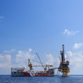 Tender drilling oil rig barge oil rig on the production platform Stock Photos