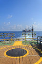 Tender drilling oil rig barge oil rig on the production platform view from crew boat Royalty Free Stock Image