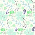 Tender floral summer pattern with green flowers