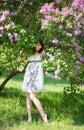 Tender girl in the garden Stock Photos