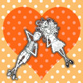 Tender love couple resting on dotted heart background Royalty Free Stock Image