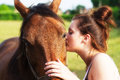 Girl Kissing Horse Royalty Free Stock Photo