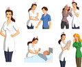 Tender nurse with patients illustrated set of a interacting various injured and helpless Royalty Free Stock Images