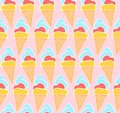 Tender pink pattern with hand drawn ice creams