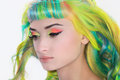 A tender portrait of a rainbow girl hair and colorful make up Stock Photo