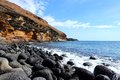 Tenerife canary islands spain beautiful sandstone coast of playa amarillo Stock Image