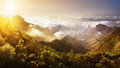 Tenerife. Mountain sunset above the clouds. Panoramic view. Royalty Free Stock Photo