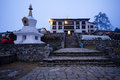 Tengboche monastery in evening Stock Photos