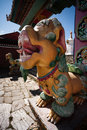 Tengboche monastery lion guard a mythical guards the gate of the nepal Royalty Free Stock Photos