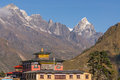 Tengboche monastery and mountain Royalty Free Stock Photo