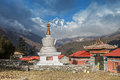 Tengboche monastry and stupor trekking around namche bazaar views to everest sagamatha national park nepal Royalty Free Stock Image