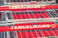 Tengelmann shopping carts logo on focus is on the bottom one Stock Image