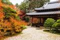 Tenju-an Temple building and autumn garden, Kyoto Royalty Free Stock Photo