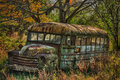 Tennessee bus abandoned school in fall colors Royalty Free Stock Photo