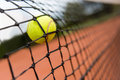 Tennis ball bouncing on the net Royalty Free Stock Photo