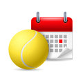 Tennis ball and calendar Stock Image