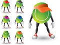 Tennis ball cartoon characters with visors Royalty Free Stock Photo