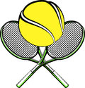 Tennis ball with crossed rackets vector illustration of a sitting on Royalty Free Stock Photos