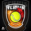 Tennis ball with fire trail in center of shield. Vector sport logo
