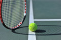 Tennis ball on the line Royalty Free Stock Photo