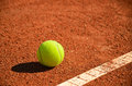 Tennis ball near markup diagonal horizontal format Royalty Free Stock Image