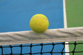 Tennis ball on net Royalty Free Stock Photo