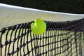 Tennis ball in net. Royalty Free Stock Photo