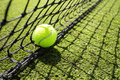 Tennis ball in the net Royalty Free Stock Photo