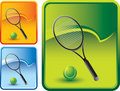 Tennis ball and racket on rip curl backgrounds Royalty Free Stock Images