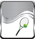 Tennis ball and racket on silver wave background Stock Photo