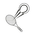 tennis ball racket sport icon thin line Royalty Free Stock Photo