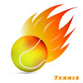 Tennis ball with red orange yellow tone fire in the white background. sport ball logo design. tennis ball logo. vector.