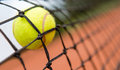 Tennis ball stuck on the net at a clay court Stock Photos