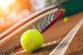 Tennis ball on a tennis court Royalty Free Stock Photo