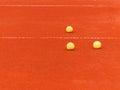 Tennis ball three balls on clay court outdoor shot Royalty Free Stock Photo