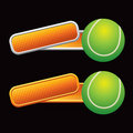 Tennis ball on tilted orange banners Stock Image