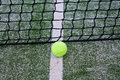 Tennis ball yellow on a grass field near the net on top of a white line Royalty Free Stock Photo