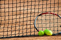 Tennis balls and racket. Royalty Free Stock Image