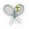 Tennis balls and rackets on white background Stock Images