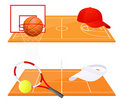 Tennis and basketball backgrounds Royalty Free Stock Photos