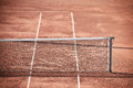 Tennis clay court empty and net horizontal shot Stock Images