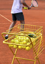 Tennis coach photo of a in action Royalty Free Stock Image