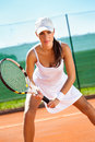 Tennis contest female player at the clay court Stock Photo