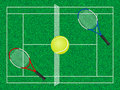 Tennis court ball and rackets Stock Images