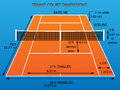 Tennis court with dimensions clay Royalty Free Stock Photo
